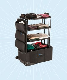 ShelfPack Suitcase | Is this the most efficient suitcase ever? #refinery29 http://www.refinery29.com/2016/12/131669/shelfpack-suitcase