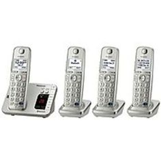 Panasonic KX-TG484SK DECT 6.0 Expandable Cordless Phone Answering System with 4 Handsets - Silver