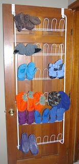 Use an over the door shoe holder to keep mittens and other outdoor gear dry and organized. From Doing My Best.