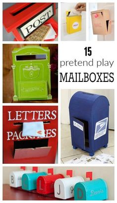 Here is a round up of 15 different versions of a DIY pretend Play Letter box. My kids loved playing Post Offices. It allowed us to write on post cards, play with stamps and as the got older we sent… Kids Mailbox, Santa Mailbox, Dramatic Play Centers, Creative Play, Diy Box, Pretend Play, Role Play, Imaginative Play, Play Houses