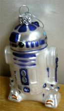 "4"" Cute & Colorful Star Wars R2D2 Robot Droid Blown Glass Christmas Ornament LFL"