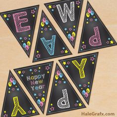 free printable chalk art happy new year banner free printable banner free banner diy