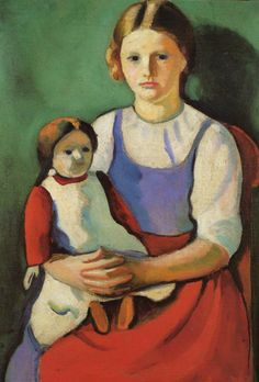 August de Macke - Blond Girl With Doll