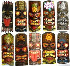 SET of 10 Hand Carved Polynesian Hawaiian TIKI Style MASKS 12 In Tall turtle pineapple colorful flower parrot Kho Lanta, Tiki Maske, Tiki Faces, Tiki Art, Tiki Tiki, Tiki Head, Tiki Statues, Tiki Decor, Tiki Totem