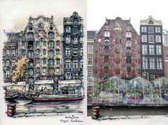 Bloemenmarkt aan de Singel, Amsterdam Anton Pieck, Amsterdam Art, New York Skyline, Times Square, Travel, Vintage, Kunst, Voyage, Trips