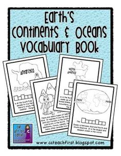 Continents and Oceans Vocabulary Book - Clip Art by Carrie Teaching First - TeachersPayTeachers.com