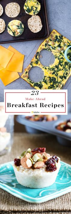 23 make in advance breakfasts. You can never have enough breakfast recipes! Especially make ahead breakfast recipes for a crowd! These 23 recipes are perfect for meal planning and meal preppers. They'll help ensure you eat a healthy breakfast any day of the week - even weekdays! Simple and easy ideas for quick breakfasts on the go! Sweet and savory options for kids and adults