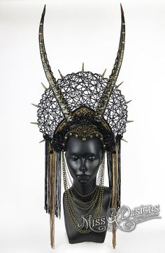 Black Horned Headdress Headpiece by MissGDesignsShop on Etsy