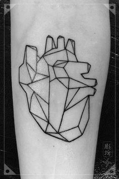Heart Geometric Tattoo Blackwork