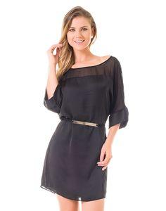 Vestido Com Mangas Amplas Ombro Transparente e Cinto Preto - Lez a Lez