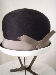 1960s Hat Mod Black Bowler Style with Taupe by StilettoGirlVintage, $28.00