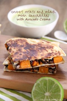 Sweet Potato and Black Bean Quesadillas with Avocado Crema