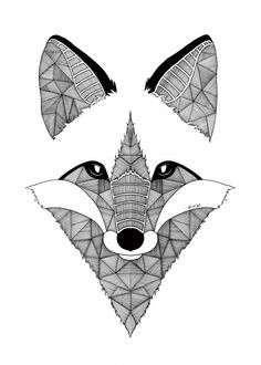 Fox Art Et Be https://www.facebook.com/ArtEtBe (zentangle, animal, wildlife, coloring, doodle)