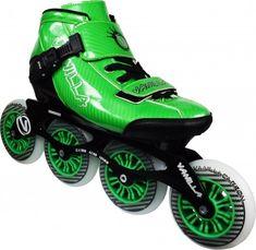 VNLA Carbon Inline Speed Skate features Fiberglass Carbon Fiber boot, 7000 Series Aluminum Frame, indoor/outdoor wheel, and Vanilla Racing Spec bearing. Speed Roller Skates, Inline Speed Skates, New Green, Green Man, Skate 4, Scooter Bike, Inline Skating, Roller Skating, Carbon Fiber