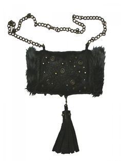 Black leather and faux fur hand muff