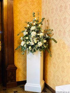 Gorgeous White Pedestal Wedding Flowers at Inglewood Manor November Wedding Pool Wedding, Wedding Venues, Wedding Flower Arrangements, Wedding Flowers, Inglewood Manor, Vera Wang Wedding, November Wedding, Flower Delivery, Liverpool
