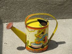 Vintage 1930's Tin Litho Ohio Art Co Watering Can Fern Bisel Peat | eBay