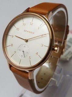 Skagen Women's Chronograph Natural Leather Strap Watch 34mm SKW2405  #Skagen