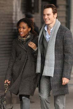 Michael Fassbender and Nicole Behaire--David NEEDS this coat