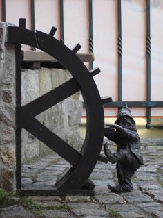 Sometimes the water wheel needed some attention. (Wroclaw, Poland, the city of Dwarves.)