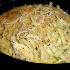 recipes: Comforting Chicken & Noodles Crock Pot In crockpot put chicken on bottom. Pour the chicken broth and soup on top. Then top that with the stick of butter. Put the crockpot on low for 6-7 hours.Take the chicken out and shred. Put back in crockpot.Add the frozen noodles and cook for 2 more hours. (I stir every 30 minutes until done.)