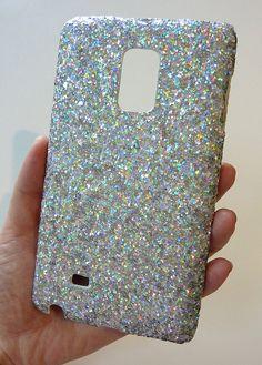 Super Sparkly Samsung Galaxy Note Edge SM-N915 Icy White Silver Crystal Bling Swarovski Rhinestone Cluster Sequin Case Handmade by Yunikuna