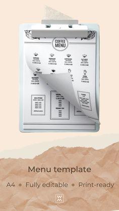 Trendy menu template Menu Template, Templates, Coffee Shop Menu, Menu Design, Stencils, Cafe Menu, Vorlage, Models