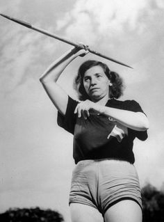 Not originally published in LIFE. Javelin throw winner Herma Baumer of Austria, London Olympics, 1948.  See more photos here.