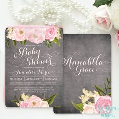 Chalkboard Floral Baby Girl Shower Invitation with Pink Blush Peonies and Roses: Rustic Shabby Chic Flowers Printable or Printed
