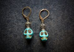 Day of the Dead Sugar Skull Statement Earrings with by BevaStyles