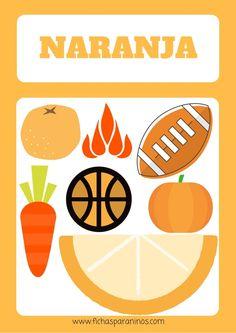 ficha para aprender el color naranja