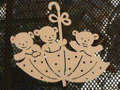 Bärchen im Schirm Paper Snowflakes, Paper Stars, Card Patterns, Doll Patterns, Origami Templates, Box Templates, Kirigami, Glitter Houses, Scroll Saw Patterns