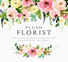 Watercolor flower clipart-Plush Florist/Individual PNG