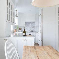 Small Long White Cottage Kitchen