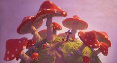 Mushroomland, Milan Vasek on ArtStation at http://www.artstation.com/artwork/mushroomland