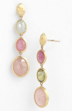 """Siviglia' Stone Drop Earrings   A trio of bezel-set Raw Sapphires offer Gorgeous, unadulterated Colour in hand-engraved Earrings crafted from 18-karat Yellow Gold. Post back. Approx. drop: 1 3/8"""" By Marco Bicego; Made in Italy."""