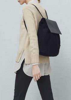 Lapel leather backpack