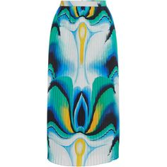 Vionnet Poplin Watercolor Skirt (€695) ❤ liked on Polyvore featuring skirts, knee length pencil skirt, pencil skirt, high waisted knee length skirt, high waist knee length pencil skirt and mid calf pencil skirts