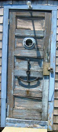 ANCHORED BLUE WOOD DOOR!..LOVE THIS.. + Beach Decor + Coastal Living