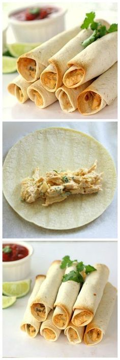 Baked Creamy Chicken Taquitos Oh Spring Breakjust thinking about it brings back memories of the crazy things we did during Spring Break in high school. My friends and I I Love Food, Good Food, Yummy Food, Mexican Dishes, Mexican Food Recipes, Chicken Taquitos, Taquitos Recipe, Chicken Tacos, Comida Latina