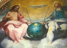 """""""Esaltation of the Eucaristy"""" (Detail of the Trinity) By Ventura Salimbeni Painted at the end of the century «The painting (above) is by Bonaventura Salimbeni entitled """"Glorification of the Eucharist"""" . Notice the Sputnik satellite device. Black Knight Satellite, Takashi Murakami, Close Encounters, Hirst, Interesting News, Ancient Aliens, 16th Century, Satan, Ufo"""