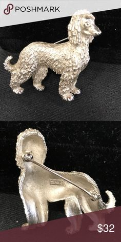 "Vintage Trifari Afghan hound brooch Excellent vintage condition. Clasp works well. Approximately 1 1/2"" long Vintage Jewelry Brooches"