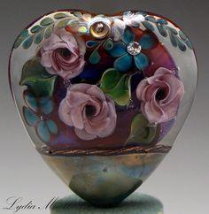 Purple Rose Garden Art - Fine Lampwork by Lydia Muell, Gallery of Lampwork Focal Beads