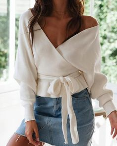 Lantern Sleeve Tie Waist Open Back Wrap Top fall fashion 2019 trends Work,fall fashion trends Outfits,fall fashion trends Women's,fall fashion trends Latest,fall Fall Fashion Outfits, Fall Fashion Trends, Autumn Fashion, Womens Fashion, Classy Outfits, Casual Outfits, Mode Ootd, Mode Vintage, Mode Inspiration