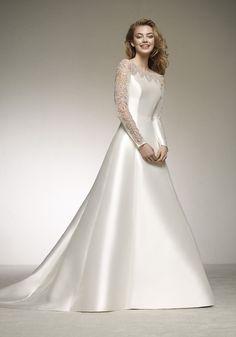 Pronovias 2018 Wedding Dress - Available at Designer Bridal Room, Hong Kong - Wedding Dresses - Wedd Classy Wedding Dress, Modest Wedding Dresses, Designer Wedding Dresses, Bridal Dresses, Satin Wedding Gowns, Muslimah Wedding Dress, Elegant Wedding Gowns, Beautiful Dresses, Hong Kong
