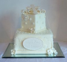 First Communion Cake - Fondant covered cake with fondant accents.