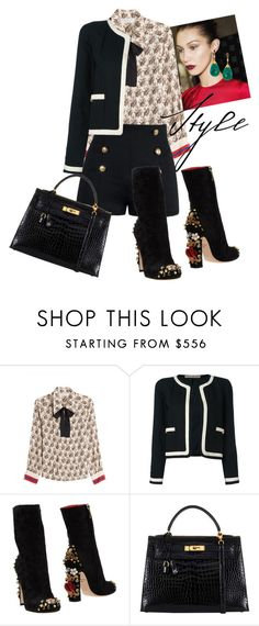 """""""Untitled #4937"""" by omahtawon ❤ liked on Polyvore featuring Philosophy di Lorenzo Serafini, Chanel, Dolce&Gabbana and Hermès"""