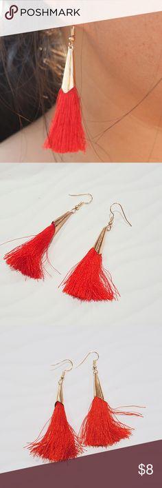 """Red Tassel Earrings Red Tassels./// Gold Tone Hardware./// Approx. 2"""" Jewelry Earrings"""