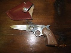 Vintage Pakistan Gun Knife Lockback Gun Shaped Knife with original Leather…