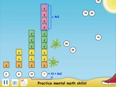 Crackers and Goo uses patterns to teach children to identify patterns and see parts of wholes. Flying crackers need to be dragged down to complete the problems. Starts very basic and finishes with rounding then multiplying 898, 899, 900. Yikes! Mental math strategies are explained.